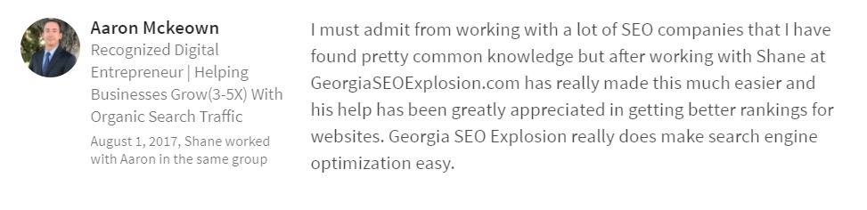 Georgia SEO Explosion LinkedIn Testimonials 1