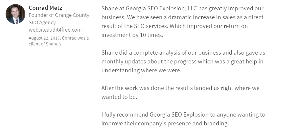 Georgia SEO Explosion LinkedIn Review 9