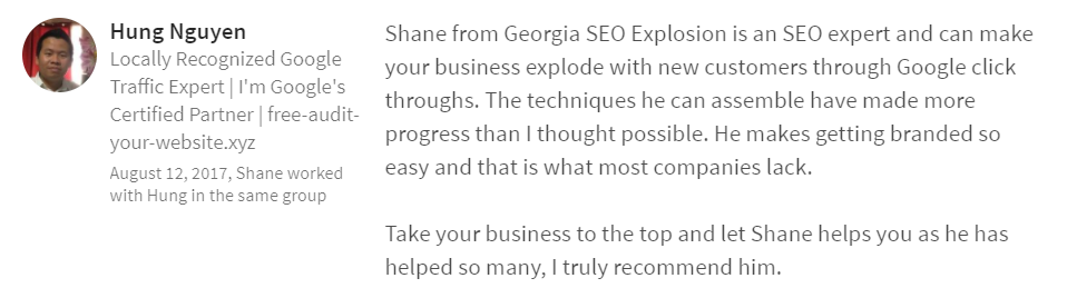 Georgia SEO Explosion LinkedIn Review 5