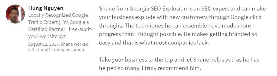 Georgia SEO Explosion LinkedIn Review 5